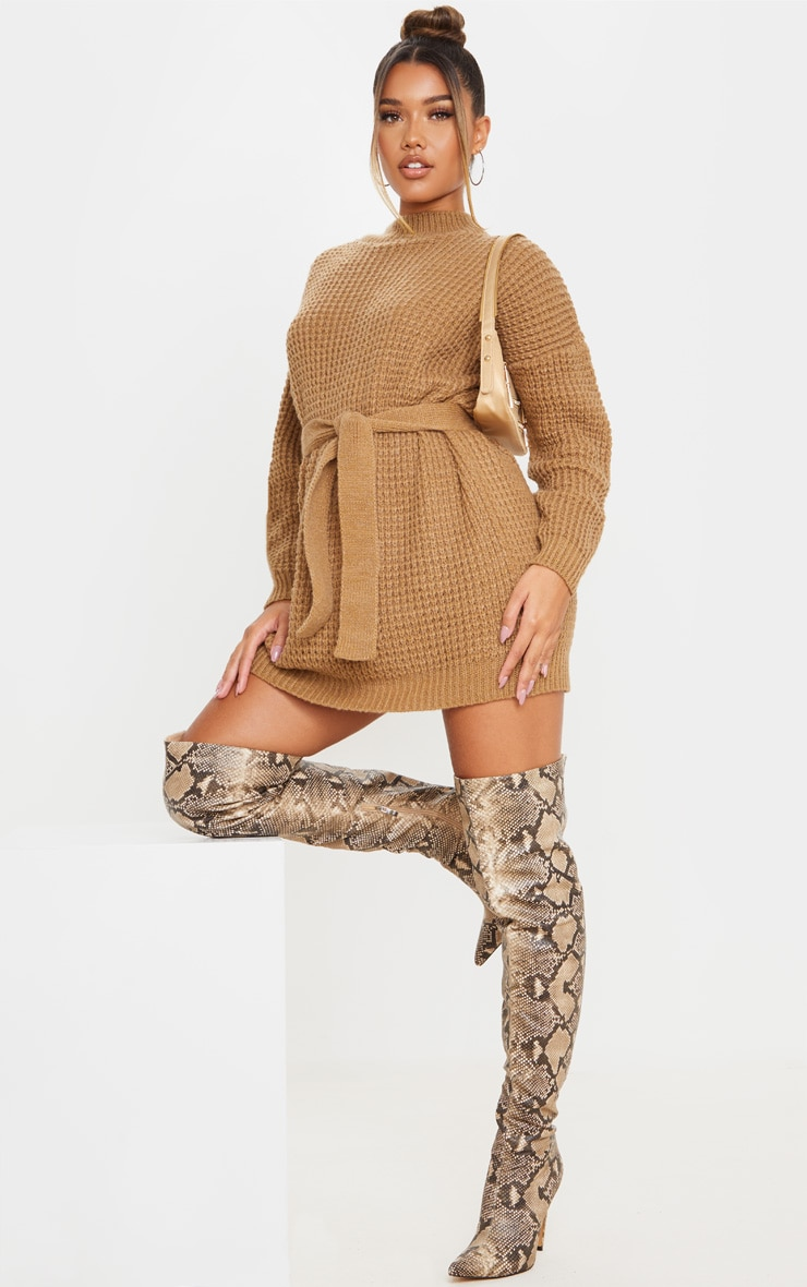 Camel Soft Touch Belted Knitted Sweater Dress 3