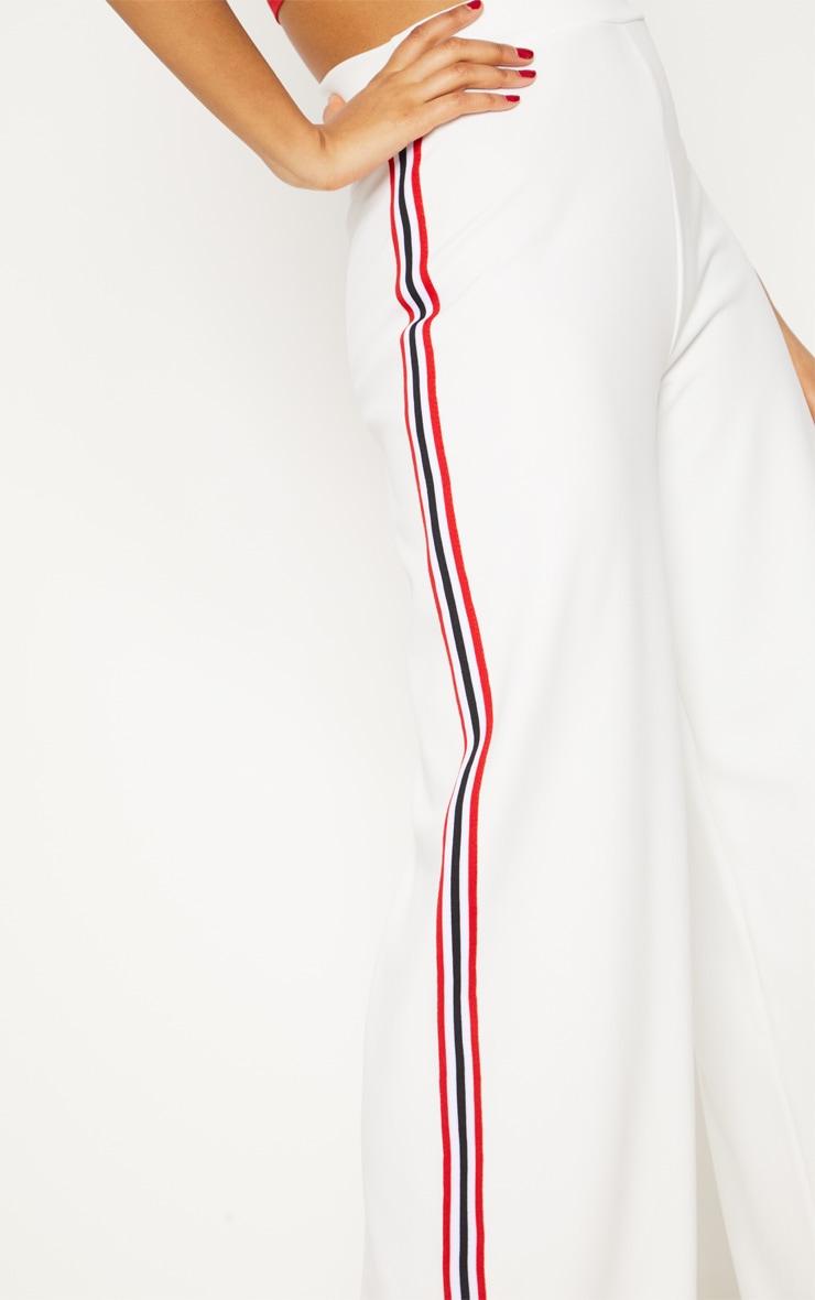 White Tape Wide Leg Trouser  5