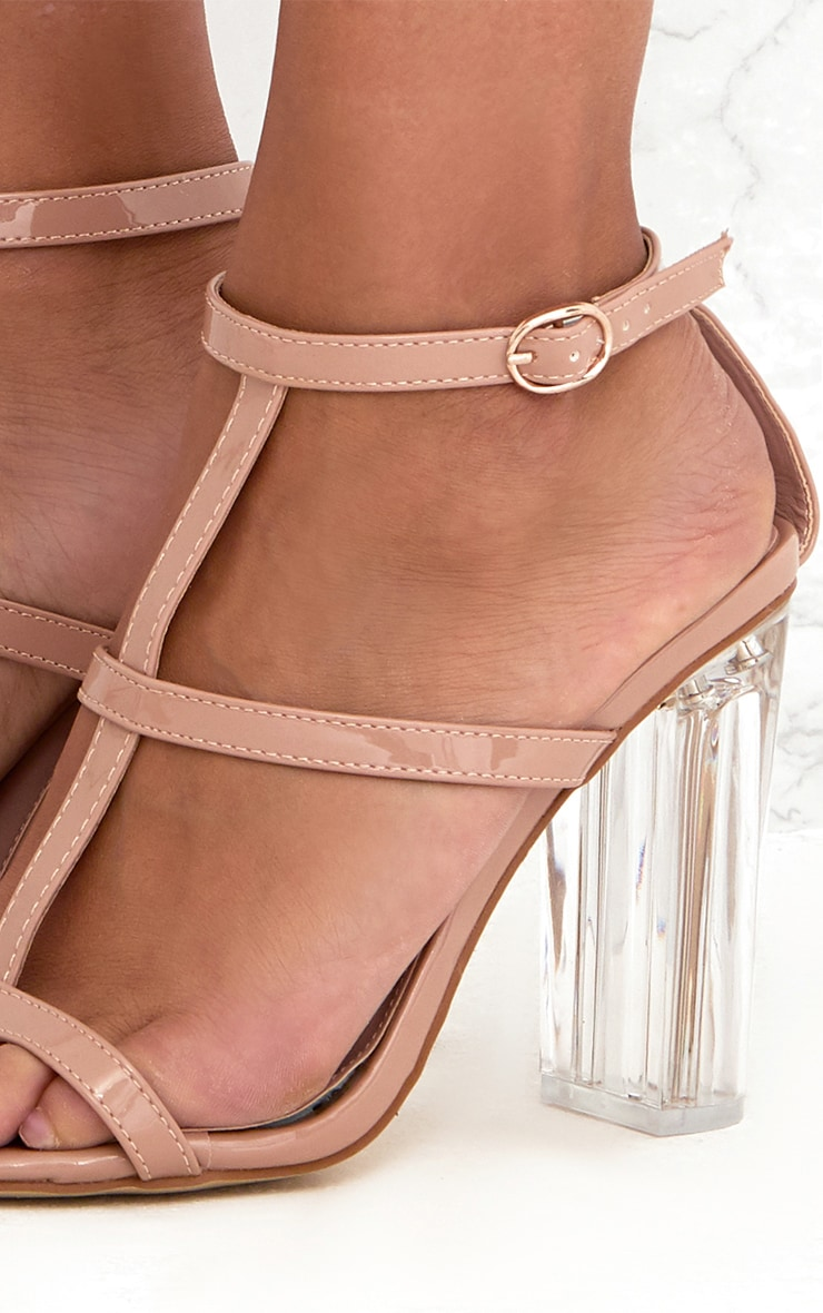 Nude Clear Heel Caged Sandals  5