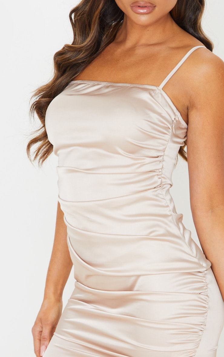 Nude Ruched Strappy Satin Bodycon Dress 5
