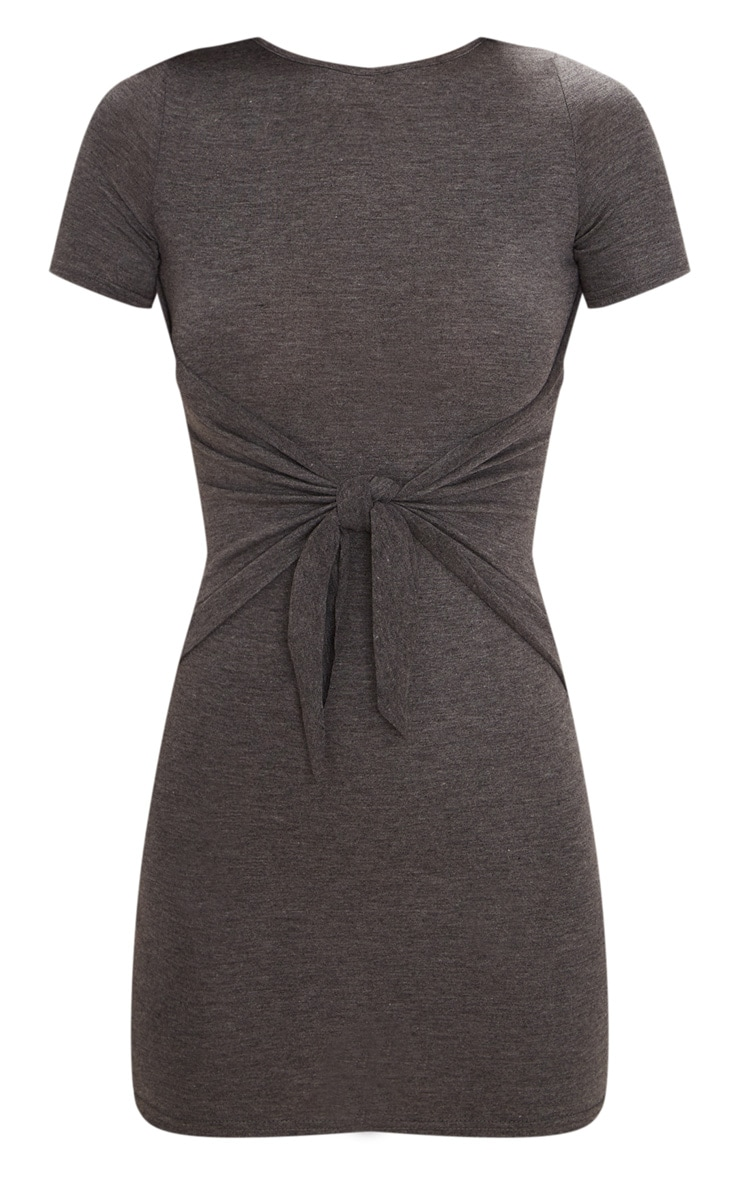 Charcoal Grey Tie Detail Bodycon Dress 3