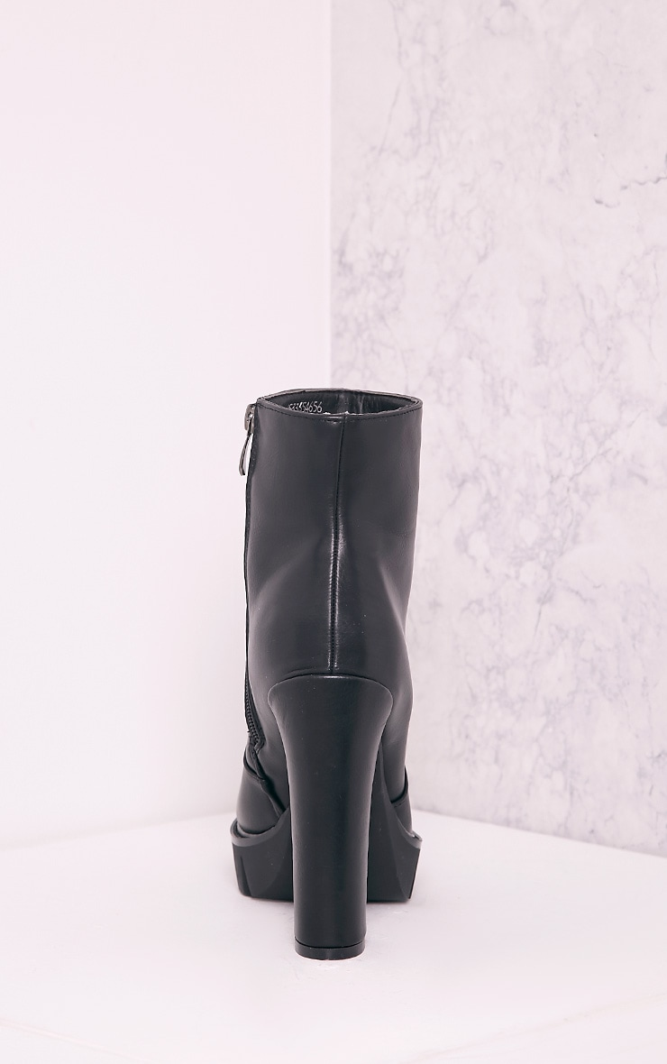 Ciel Black PU Cleated Sole Heeled Ankle Boots 4