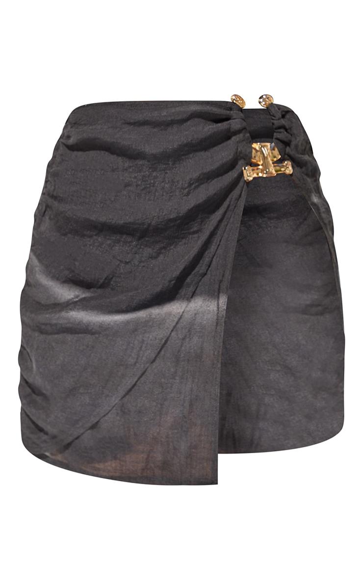 Black Linen Look Hammered Trim Beach Skirt 6
