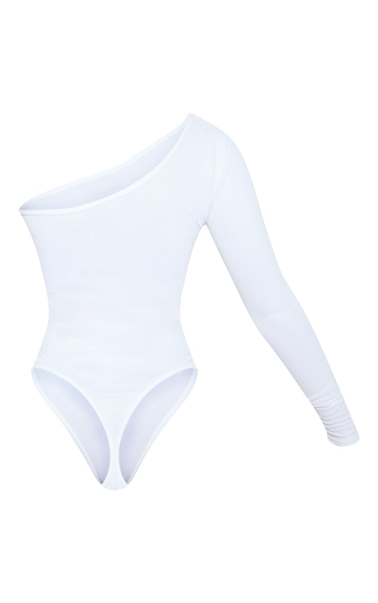 White Stretch Crepe One Shoulder Thong Bodysuit  4