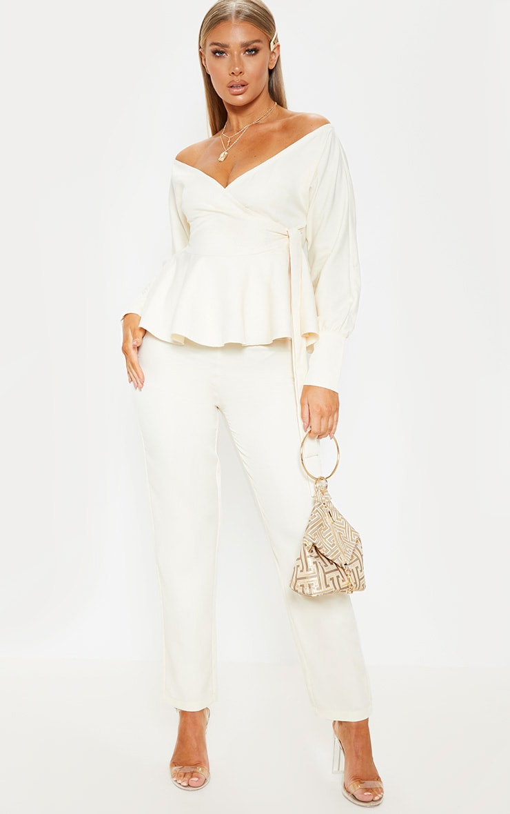 Cream Plunge Peplum Hem Long Sleeve Blouse 4