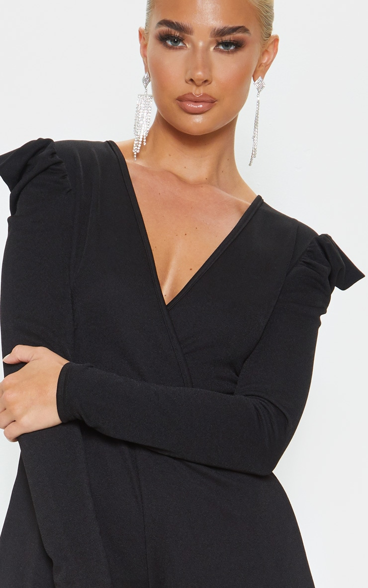 Black Long Puff Sleeve Wrap Playsuit 5