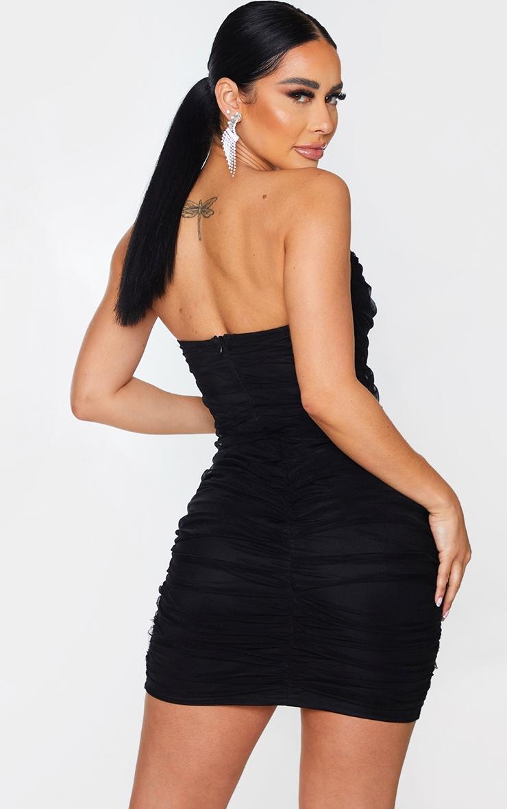 Shape Black Mesh Corset Detail Ruched Bodycon Dress 2