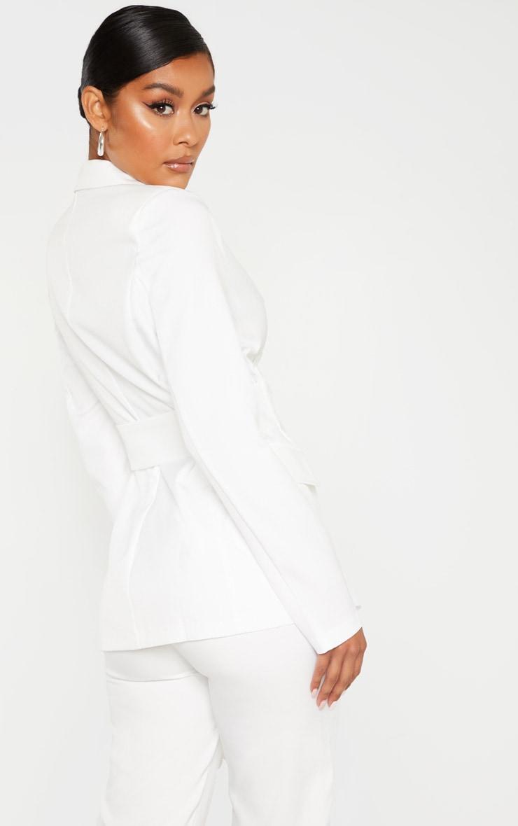 White Corset Woven Blazer 3