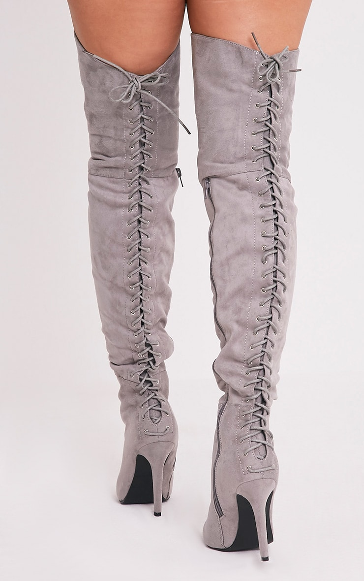 Carlie Grey Lace Up Back Over The Knee Heeled Boots 3