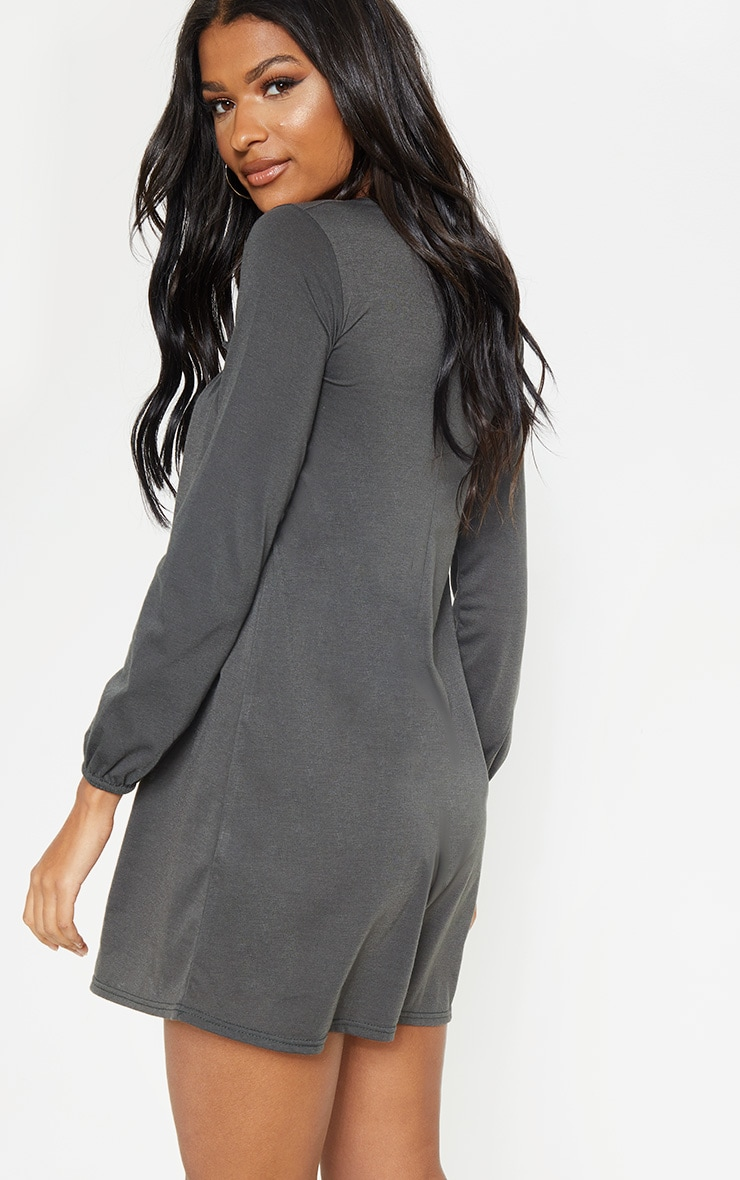 Charcoal Frill Long Sleeve Smock Dress 2