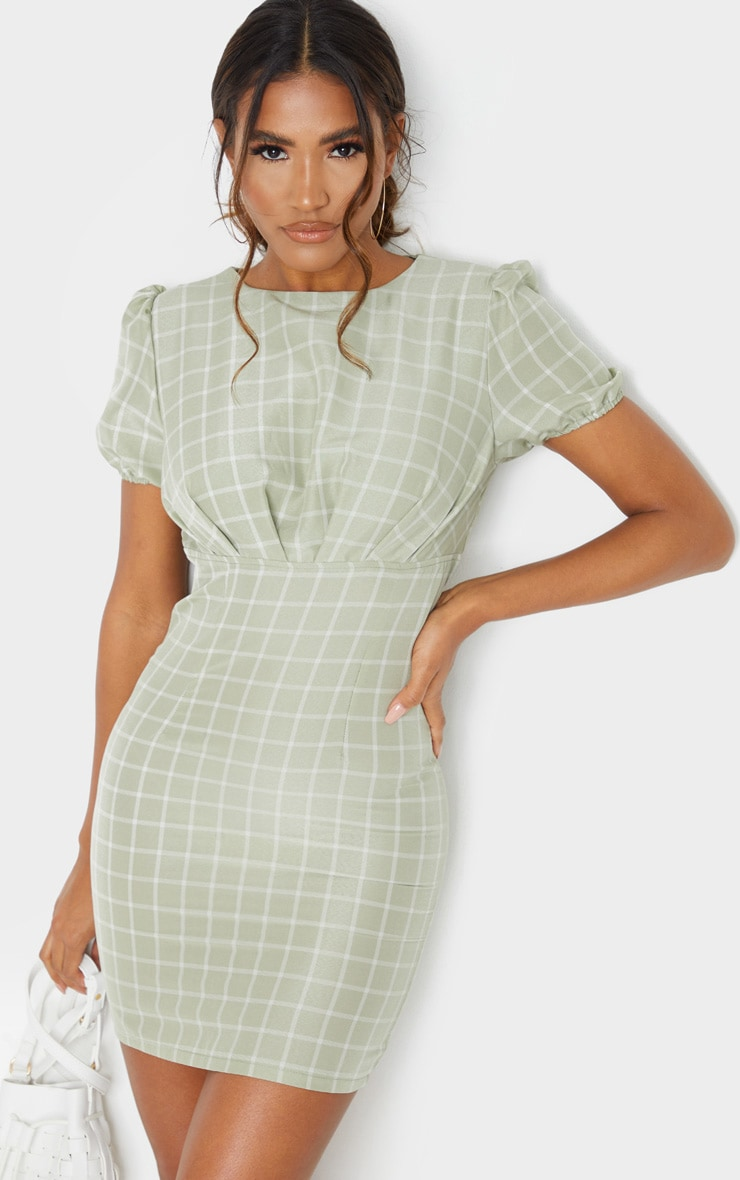 Sage Green Check Print Cut Out Back Detail Bodycon Dress 1