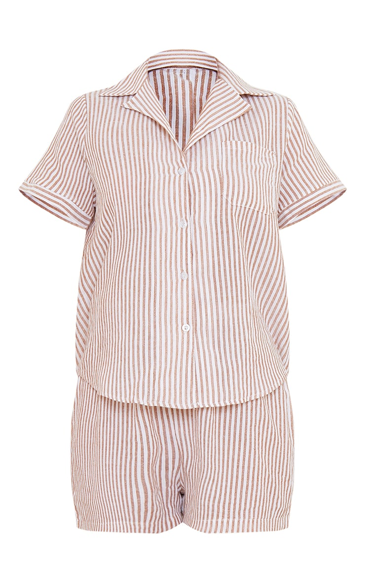 Beige Striped Cotton Short Sleeve Shirt And Shorts PJ Set with Scrunchie 5