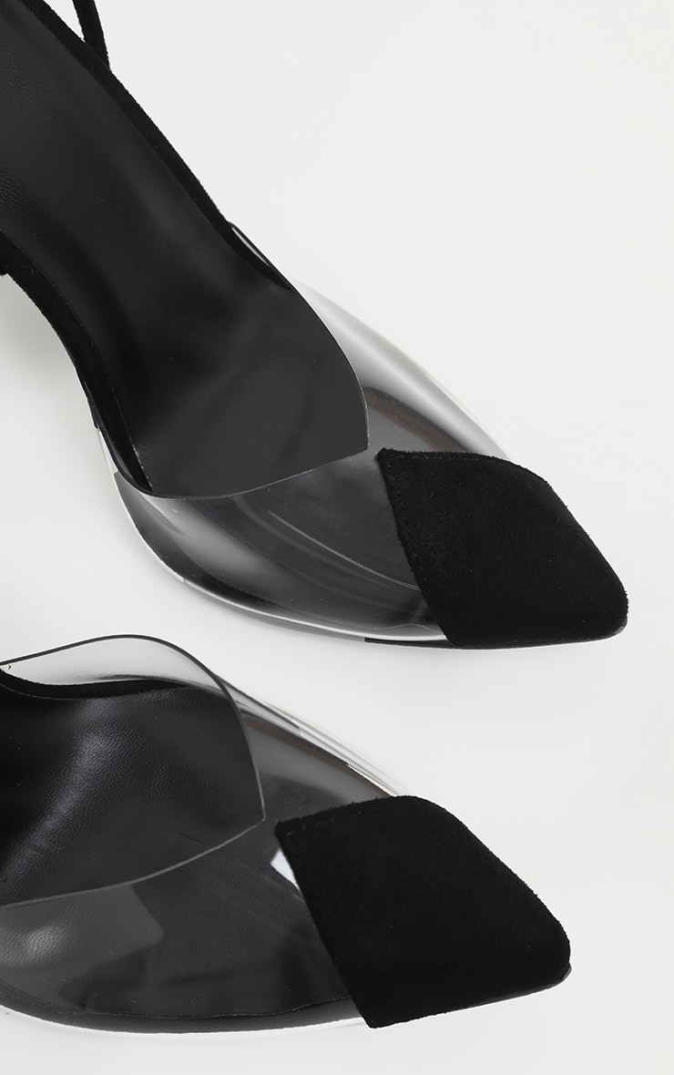 Black Clear Ankle Tie Court Shoe 4