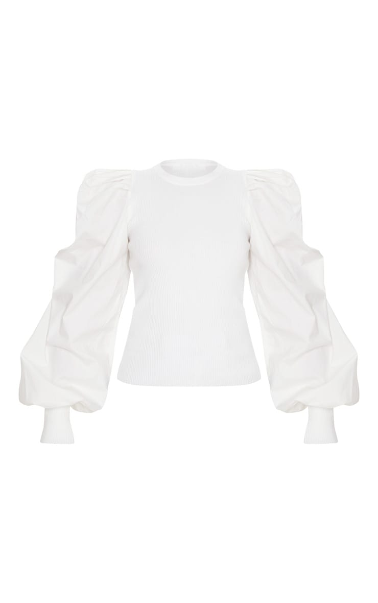 White Extreme Poplin Sleeve Knitted Jumper 3