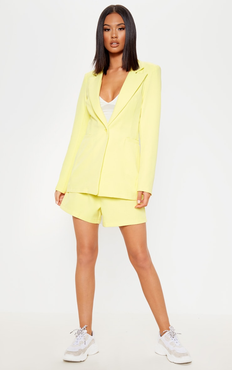 Bright Yellow Fitted Suit Woven Blazer