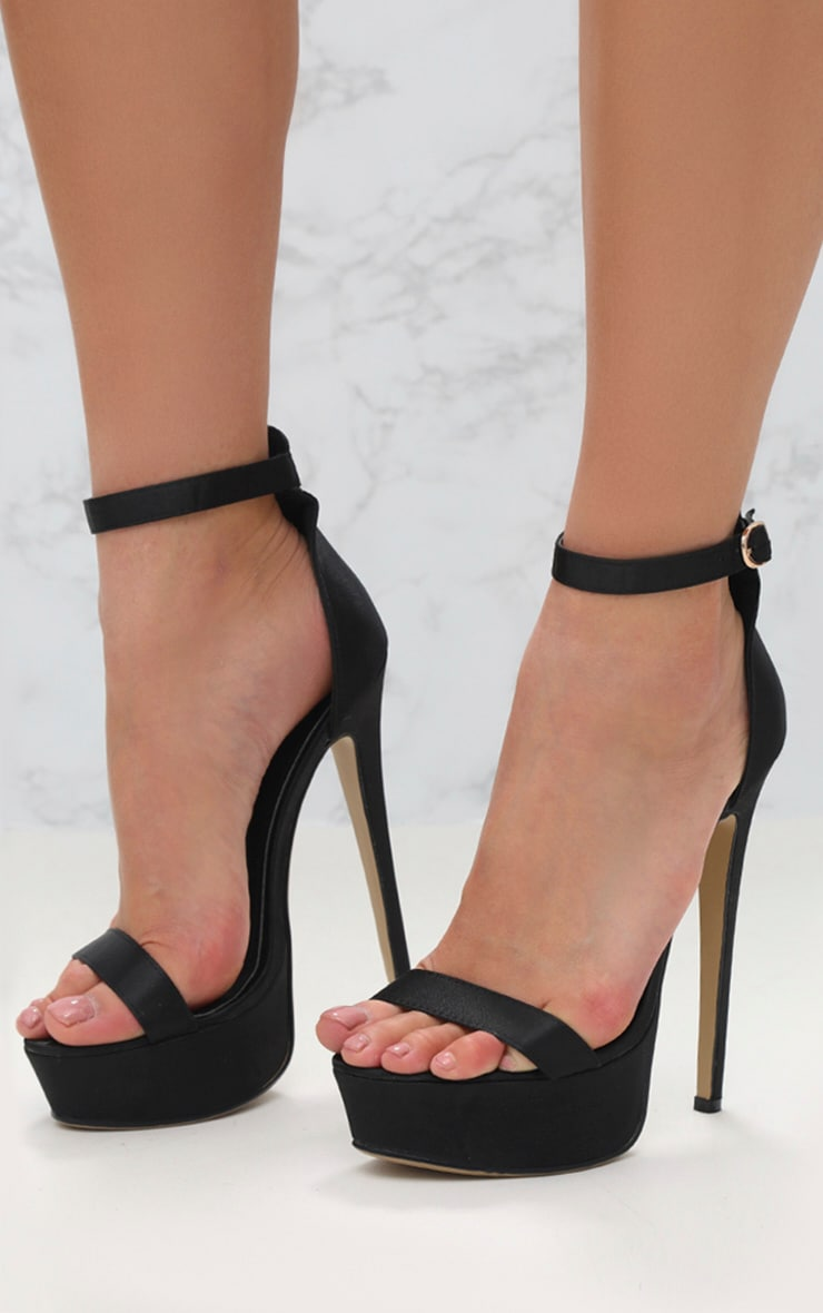Black Satin Single Strap Platform Heels image 1