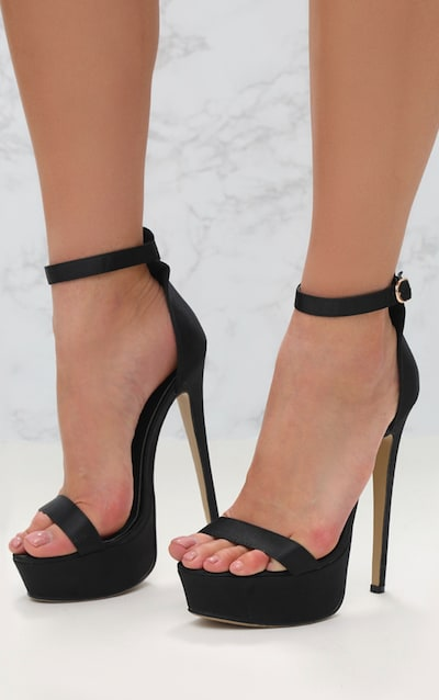 692d92e76fe Black Satin Single Strap Platform Heels