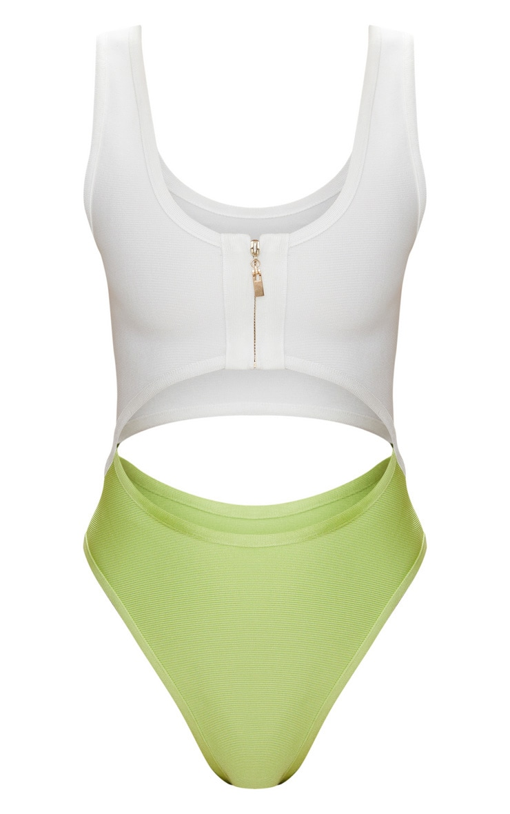 Lime Cut Out Zip Front Bandage Swimsuit 3