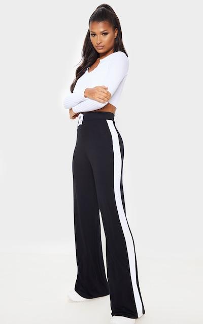 Black Jersey Wide Leg Side Stripe Trouser