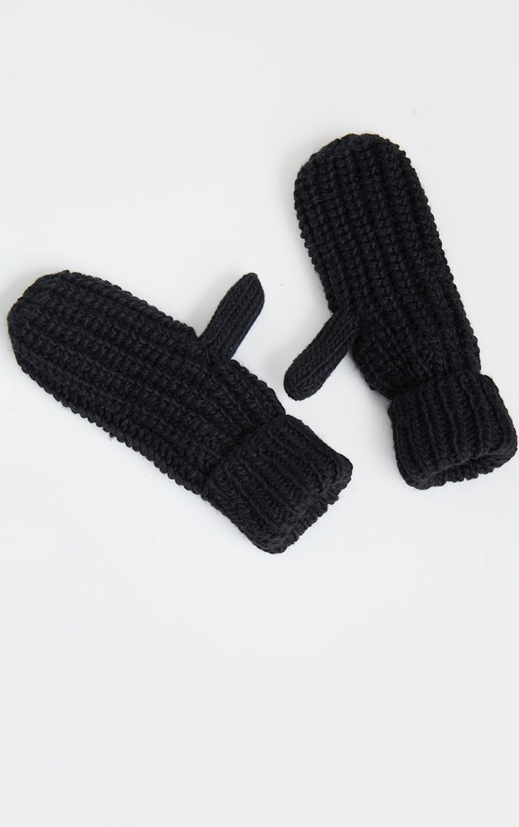 Black Knitted Mittens 2