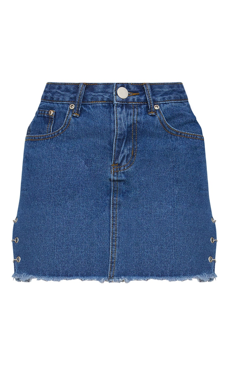 Petite Mid Wash Chain Detail Denim Mini Skirt 3