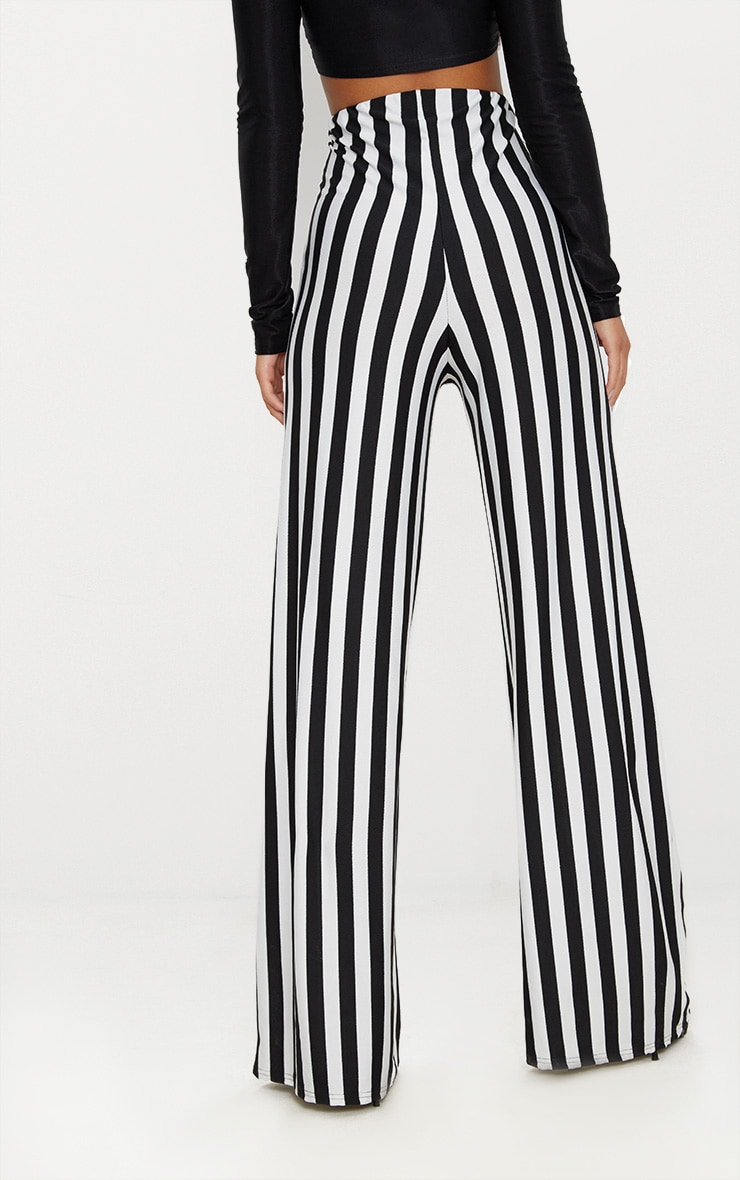 Black High Waisted Crepe Stripe Wide Leg Trouser 4