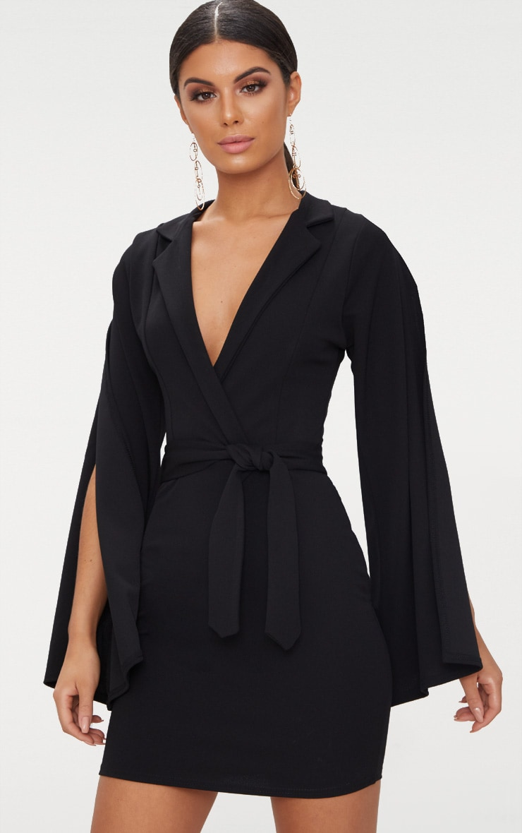 Black Split Sleeve Blazer Dress  1