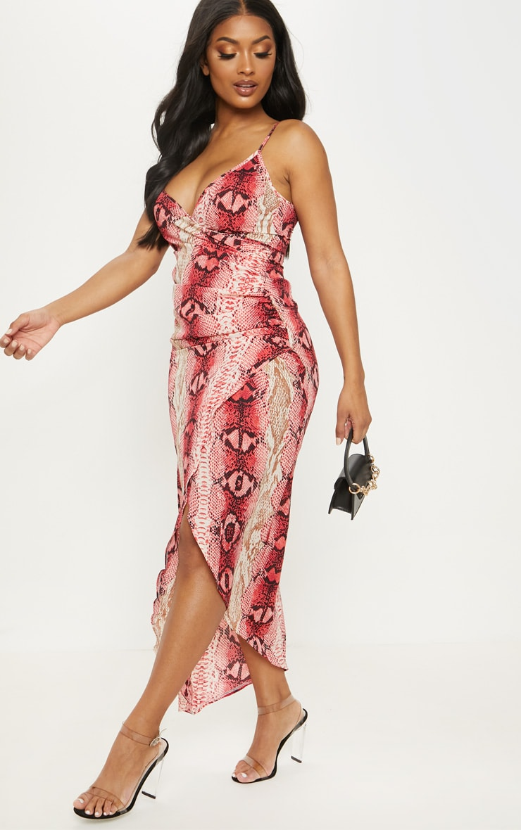 Shape Hot Pink Snake Print Satin Wrap Detail Midaxi Dress 4