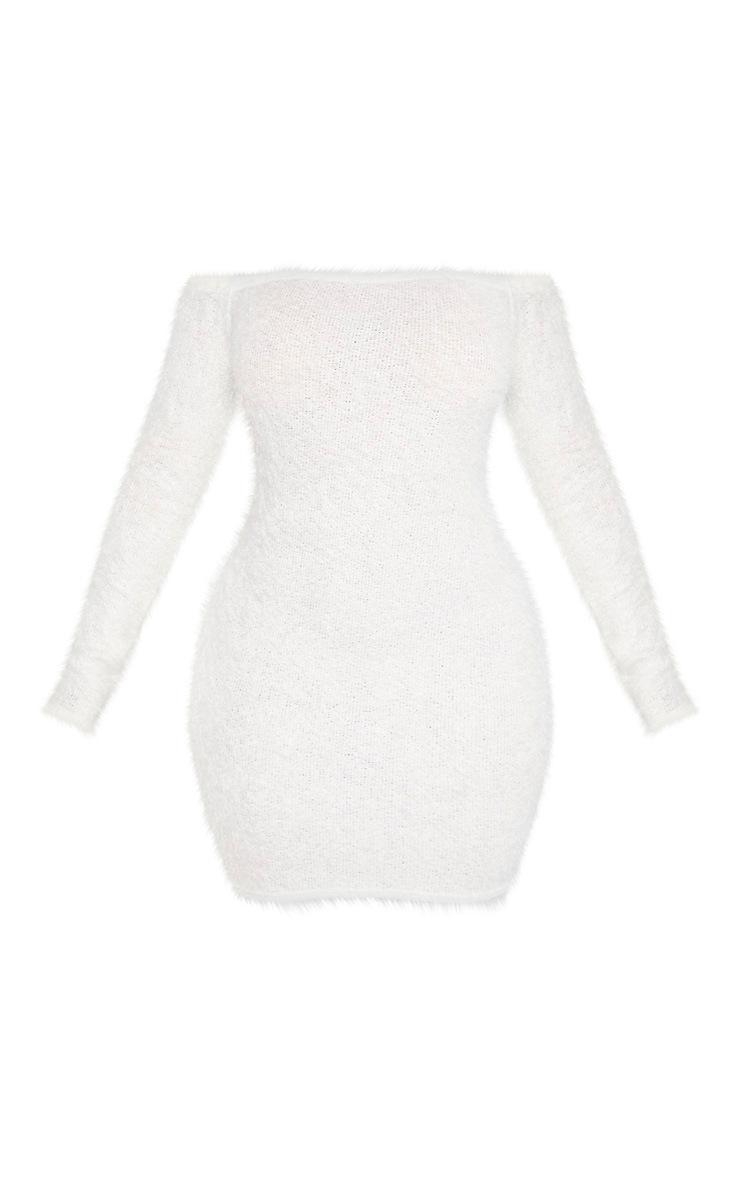 Shape - Robe moulante crème en maille duveteuse  3