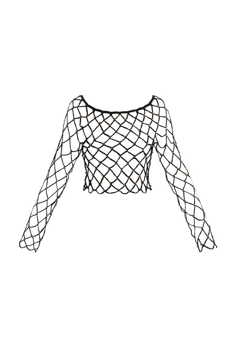Black Crochet Beaded Long Sleeve Top 3