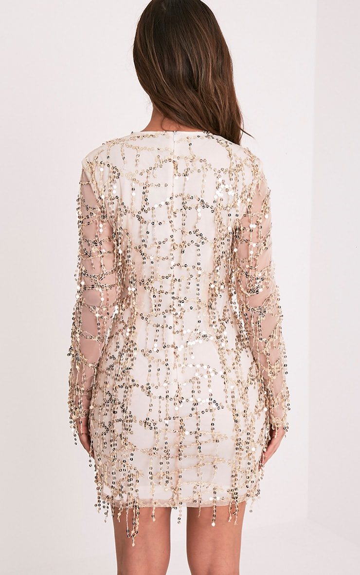 044f89b0b382 Freyana Rose Gold Sequin Detail Long Sleeve Bodycon Dress - Photo ...