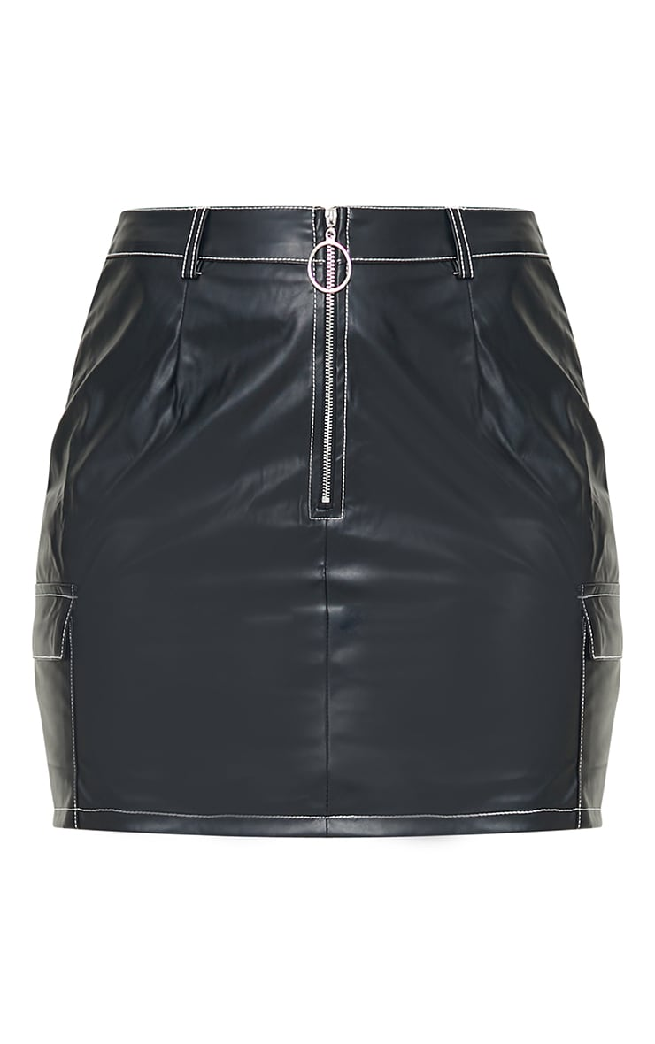 Black Faux Leather Contrast Stitch Mini Skirt 5