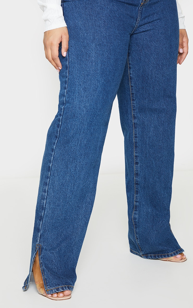 Plus Dark Blue Wash Split Hem Jeans 4