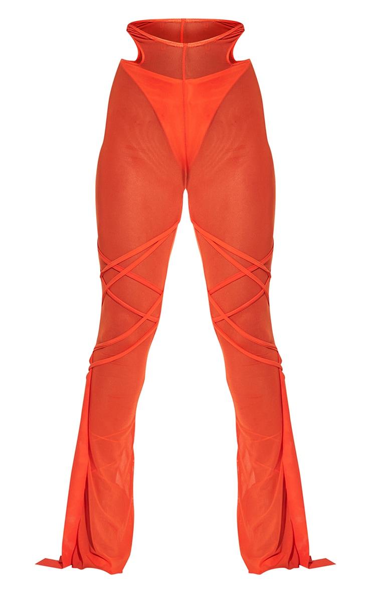 Orange Wrap Mesh Beach Pants 7