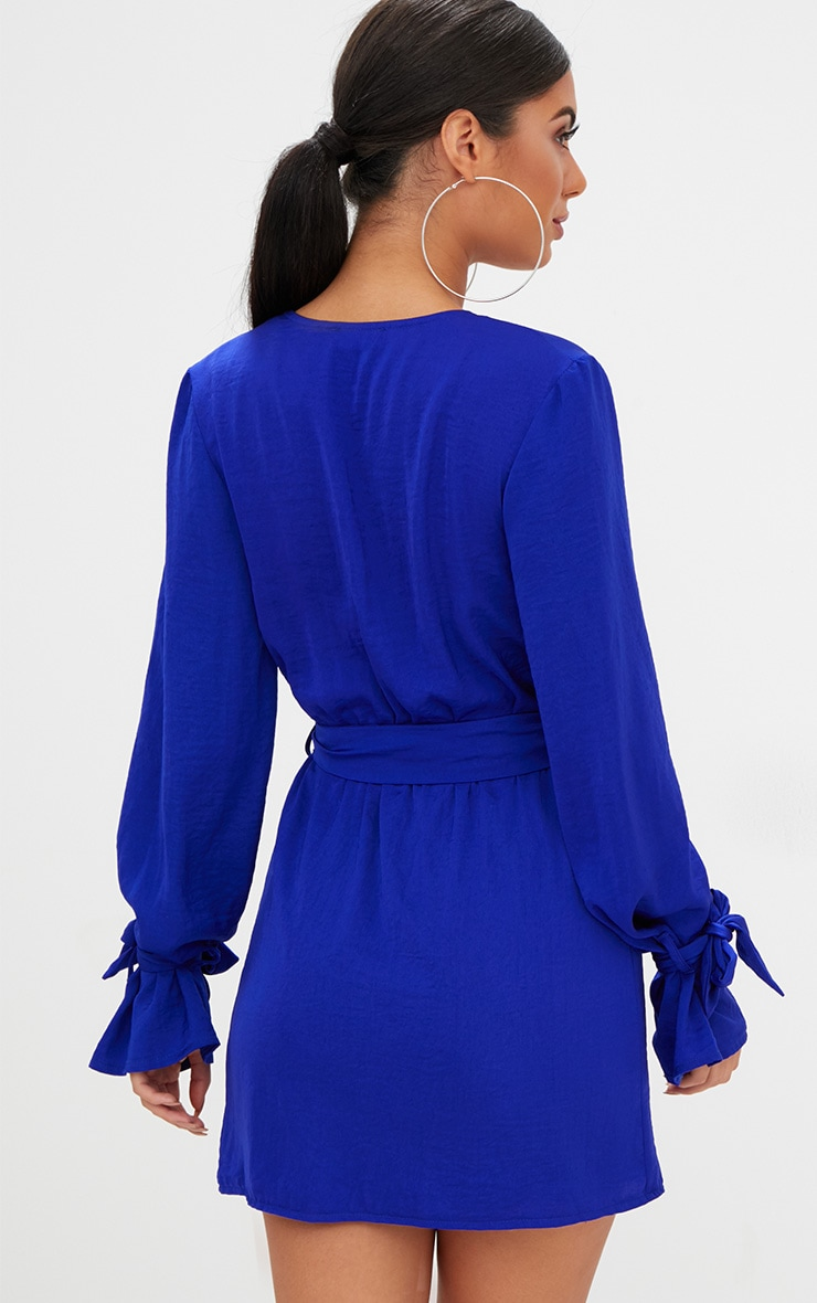 Cobalt Satin Wrap Cuff Detail Shift Dress 2
