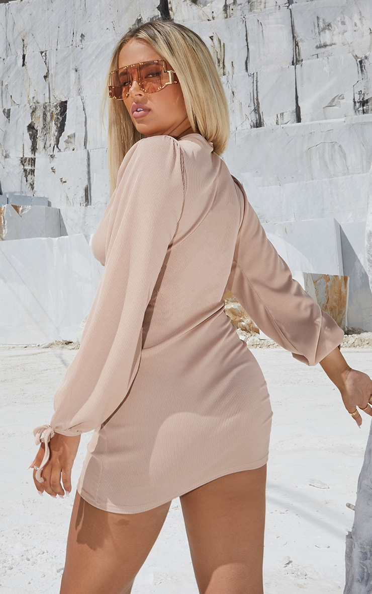 Stone Tie Front Detail Long Sleeve Bodycon Dress 2