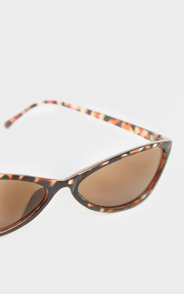 Tortoiseshell Slim Cat Eye Sunglasses 4