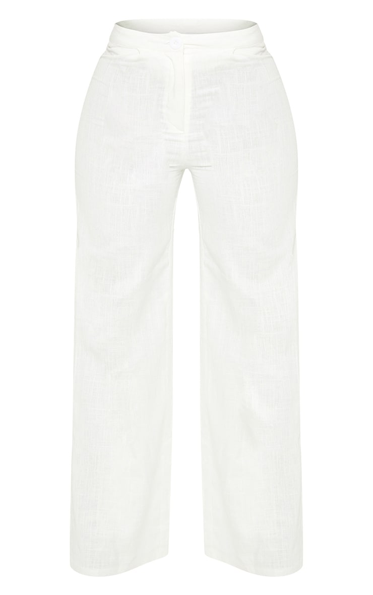 Petite White Wide Leg High Waisted Trouser 3