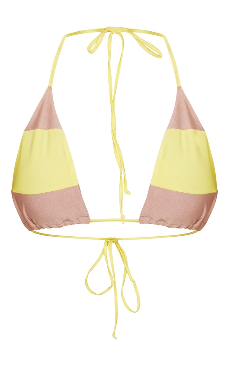 Lime Bright Contrast Triangle Bikini Top 3