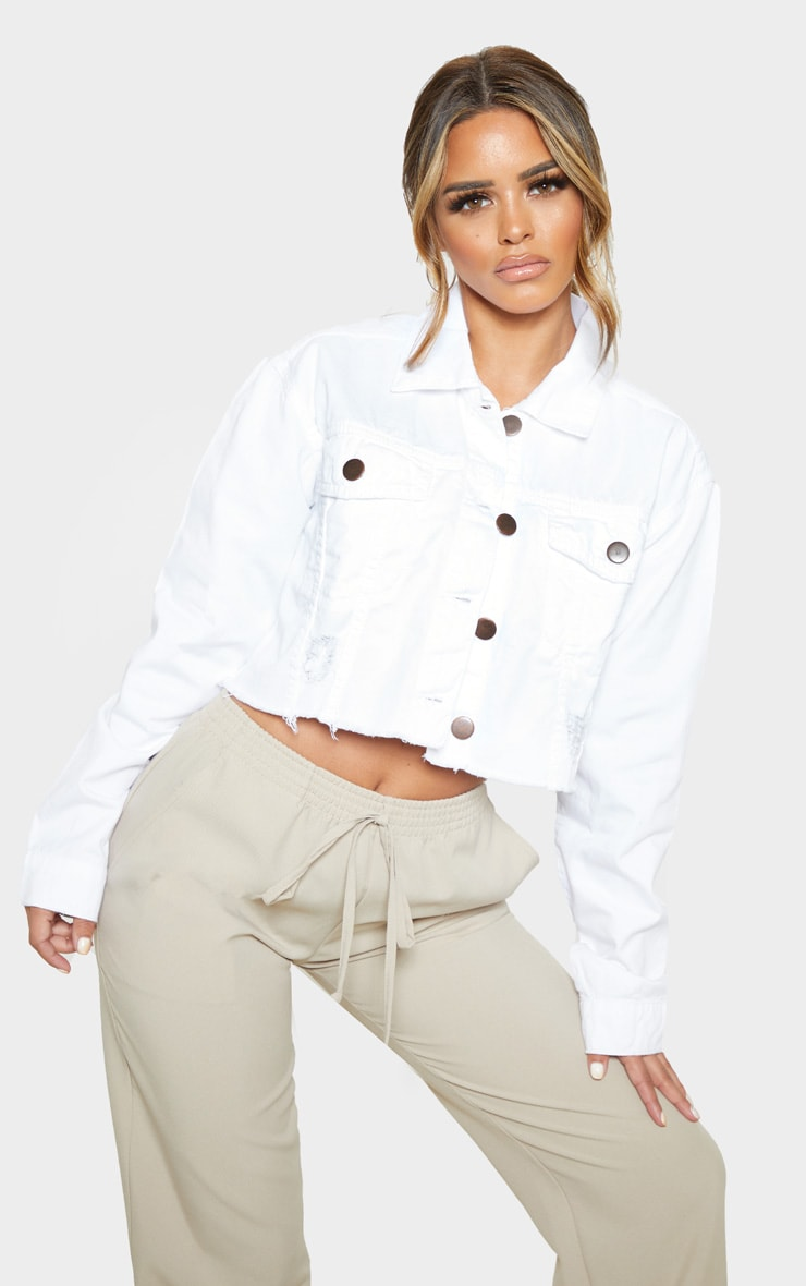 Petite White Raw Hem Cropped Denim Jacket 1