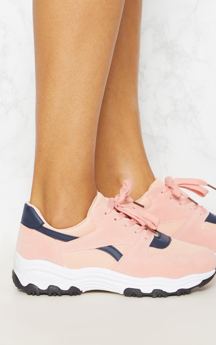 Pink Lace Up Chunky Trainer 5