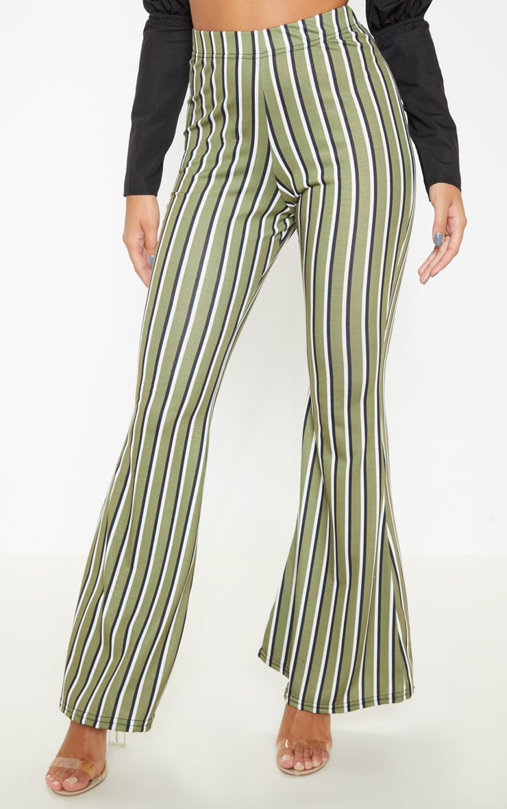 Khaki Jersey Vertical Stripe Flared Trousers 2