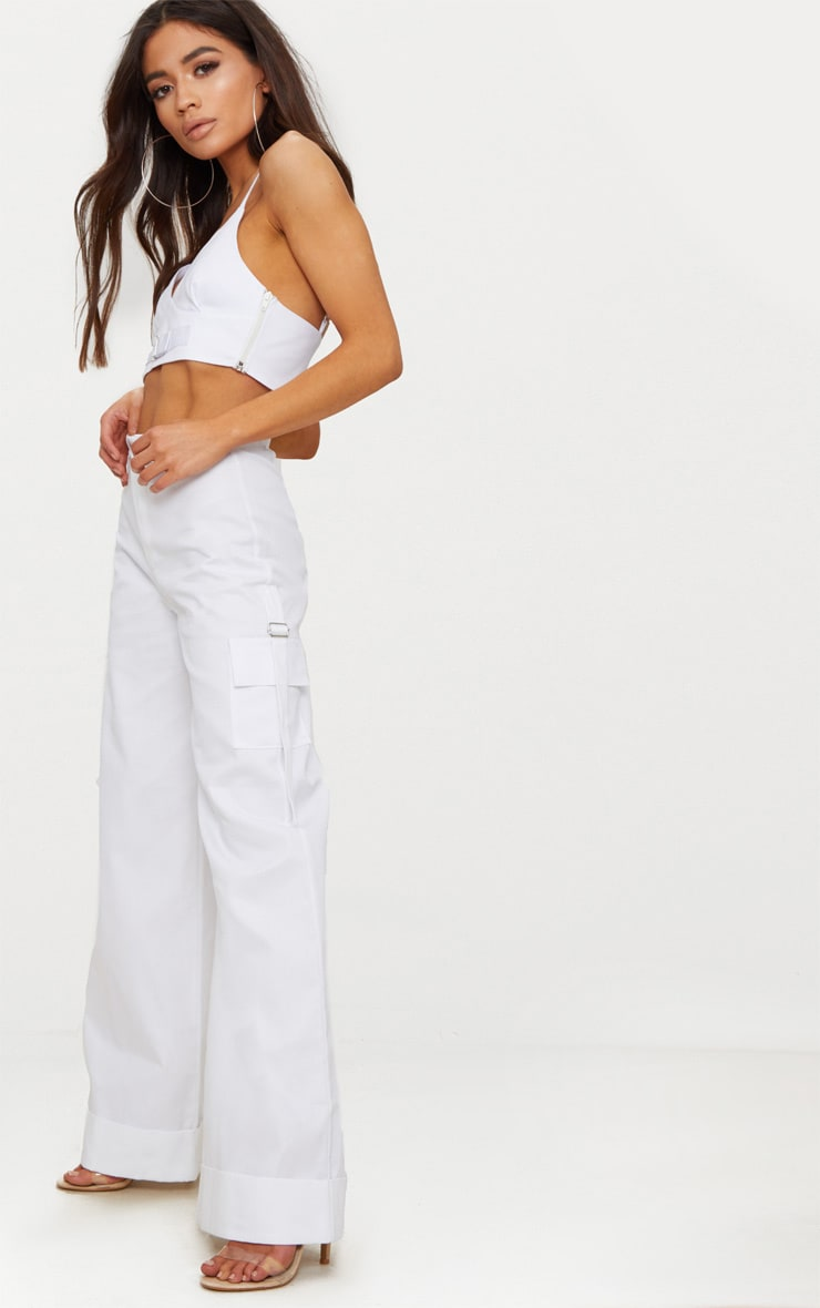 Petite White Pocket Detail Cargo Pants 1