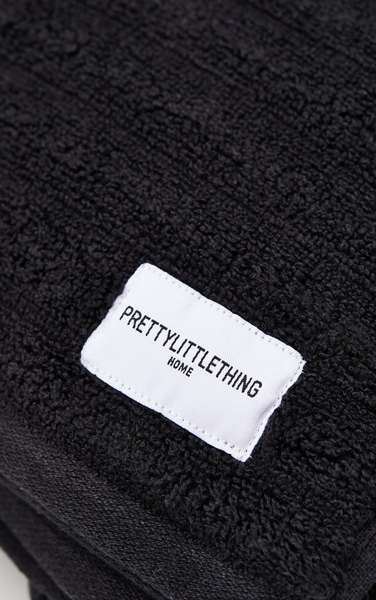 Black Textured Ribbed Cotton Large Bath Towel  4