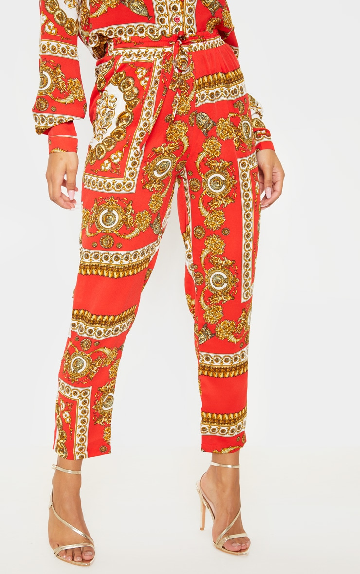 Red Scarf Print Cigarette Pants 2
