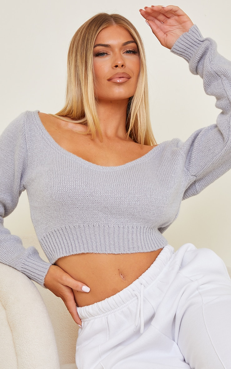 Grey V Neck Off Shoulder Soft Knitted Crop Sweater 4