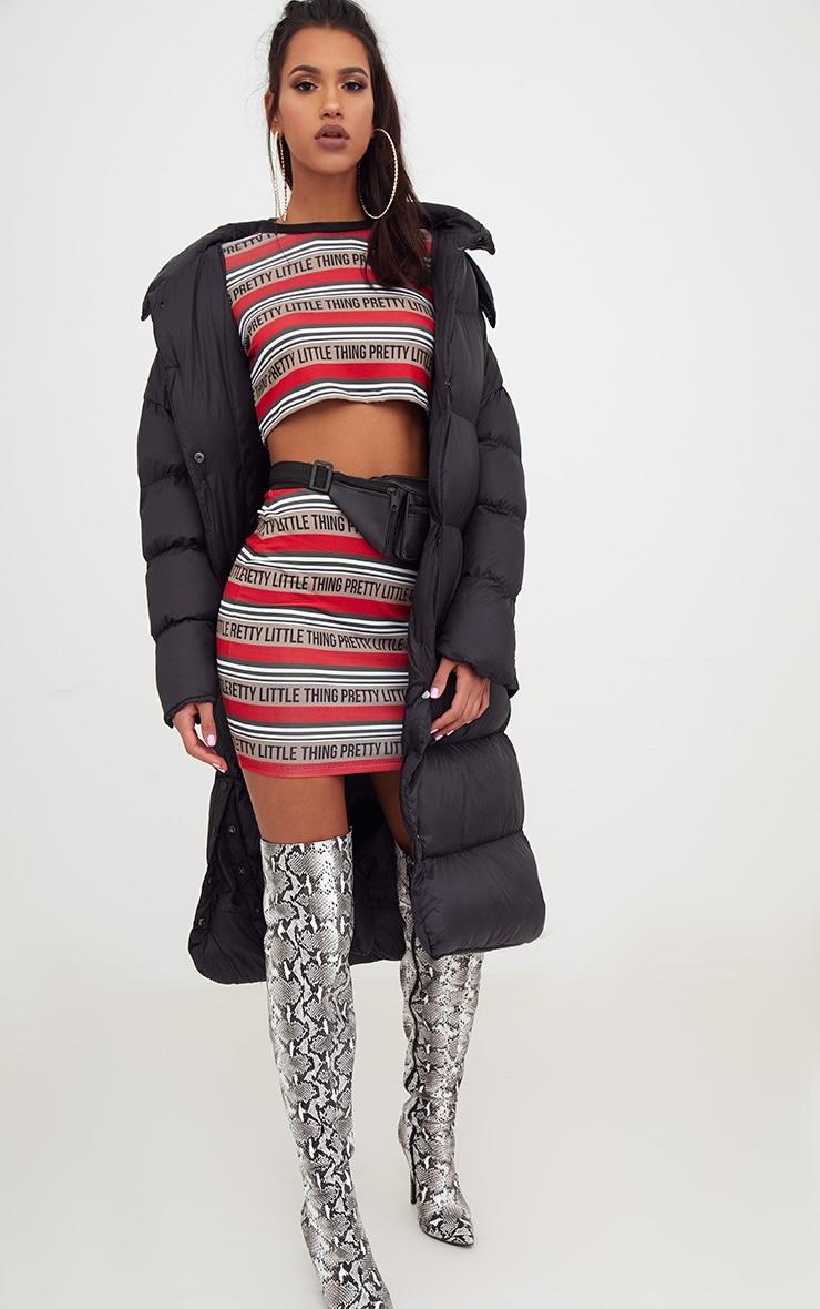 PRETTYLITTLETHING Red Slinky Stripe Mini Skirt  5