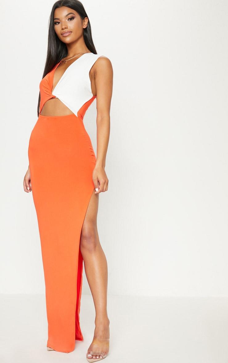 Tangerine Contrast Detail Extreme Split Maxi Dress 1
