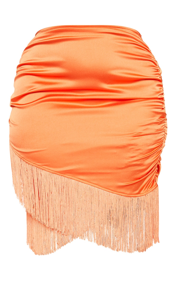 Plus Orange Satin Ruched Side Tassel Bodycon Skirt 3