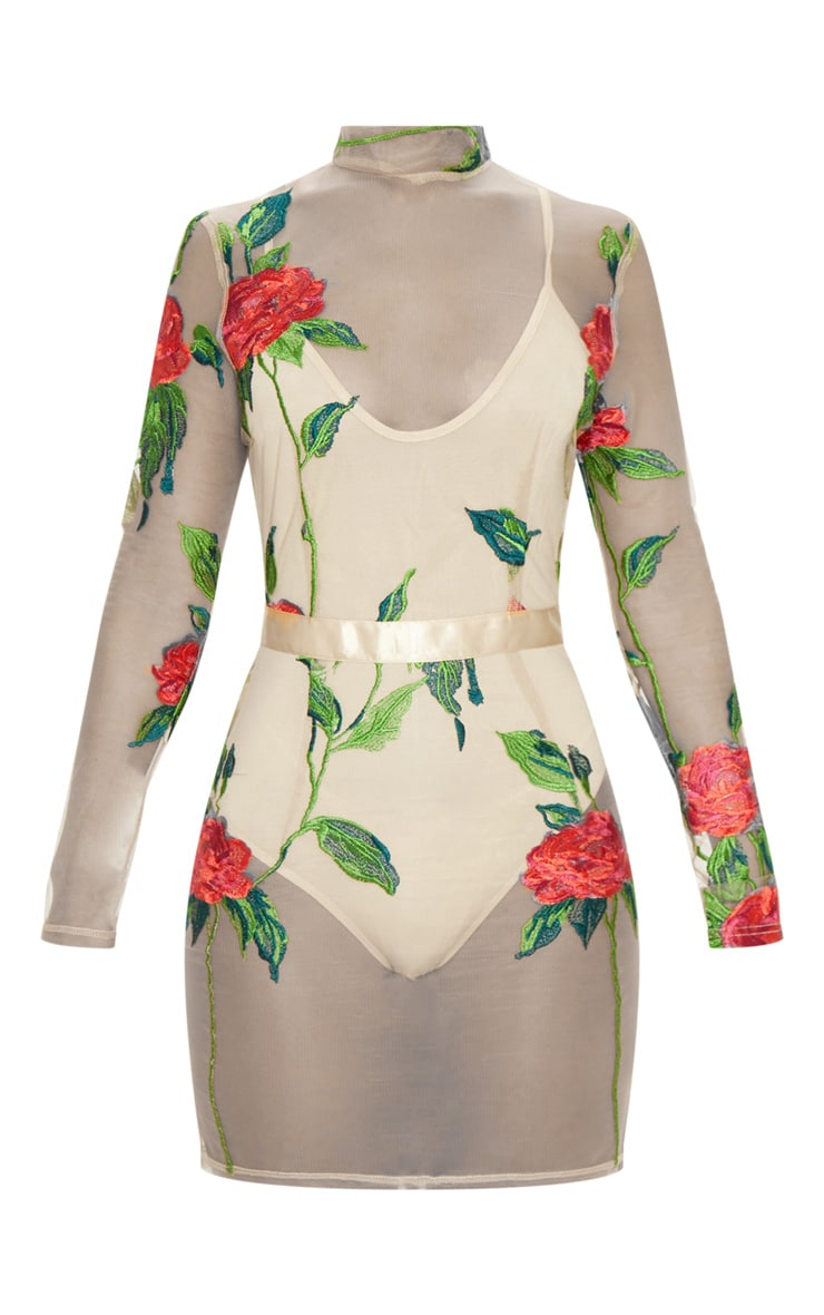 Nude Rose Mesh Embroidered High Neck Bodycon Dress 3
